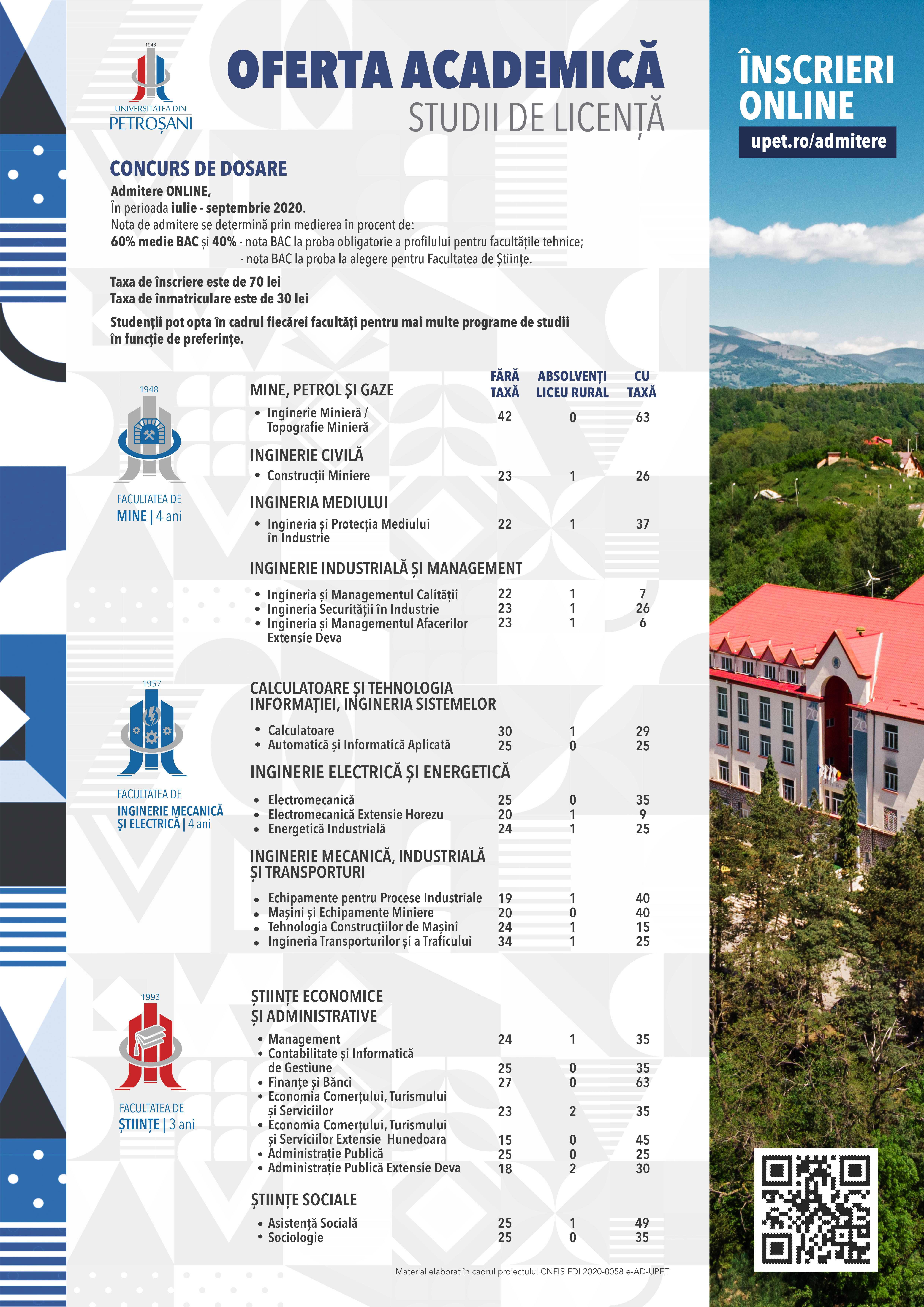 Oferta educațională a UPET ptr anul 2020