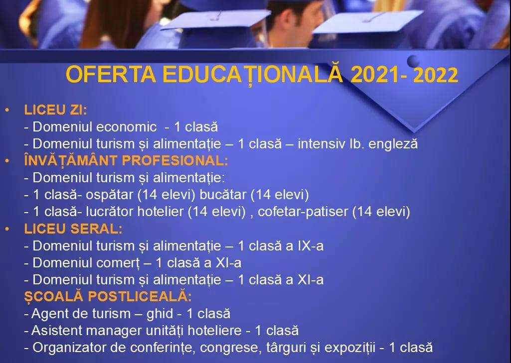 """OFERTA EDUCAȚIONALĂ A COLEGIULUI ECONOMIC """"HERMES"""" PETROȘANI PENTRU ANUL ȘCOLAR 2021-2022  1"""